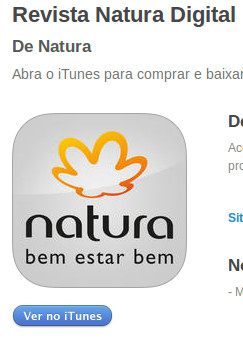 Aplicativo Revista Natura Online na Apple Store