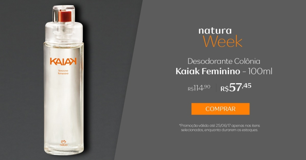 Natura desodorante colônia Kaiak feminino - 100ml - preço R$ 57,45 na Natura Week