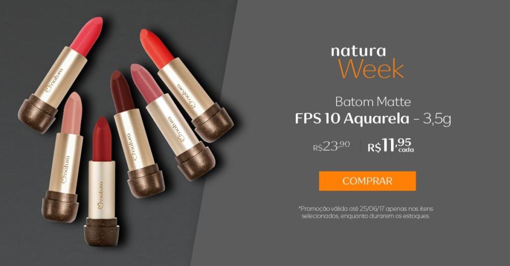 Natura batom Matte FPS 10 Aquarela 3,5g - preço R$ 11,95 cada
