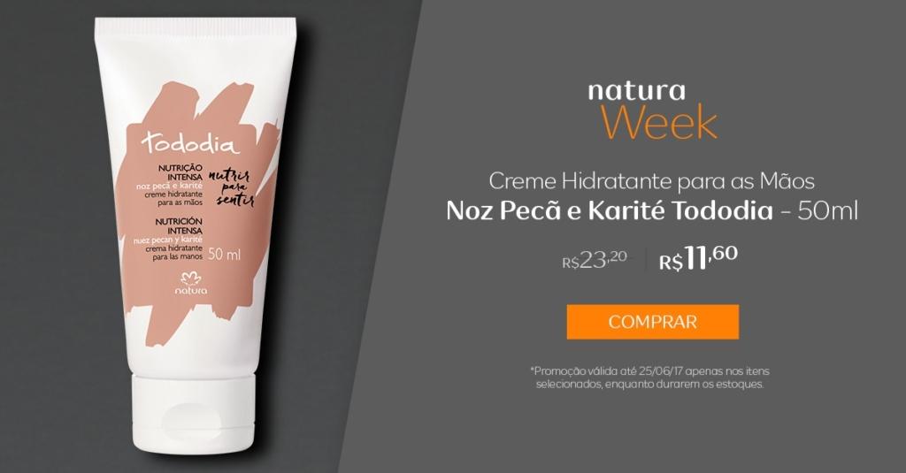 Creme Hidratante para as Mãos Noz Pecã e Karité Tododia - 50ml - preço R$ 11,60 na Natura Week